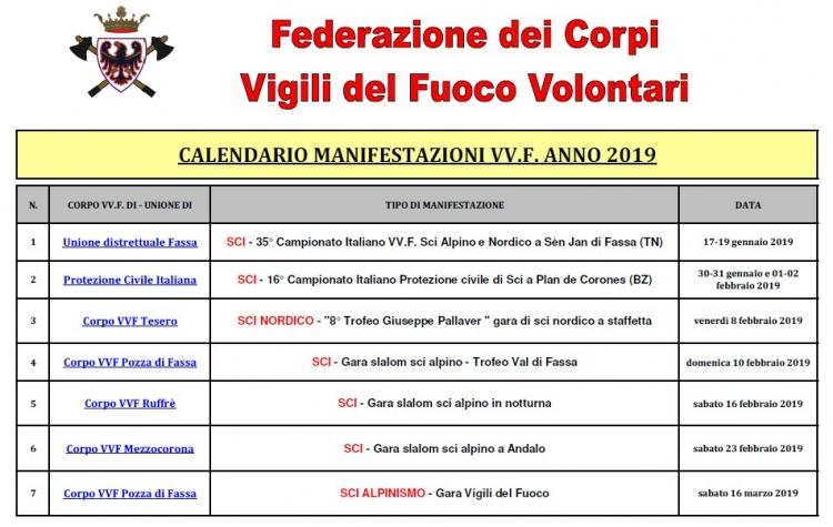 Calendario Vvf.Calendario Manifestazioni Per Vigili Del Fuoco Fino Al 31 03